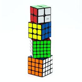 QiYi Luxurious Set 2x2, 3x3, 4x4, 5x5 speed cubes, noirs, ensemble de 4 speed cubes différents