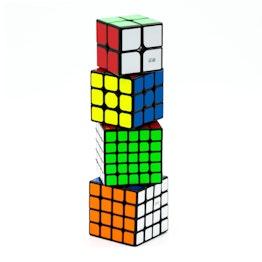 QiYi Luxurious Set 2x2, 3x3, 4x4, 5x5 speed cubes, black, set of 4 different magic cubes