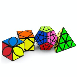 QiYi Luxurious Set Pyraminx, Ivy Leaf, Skewb, Megaminx speed cubes, black, set of 4 different magic cubes