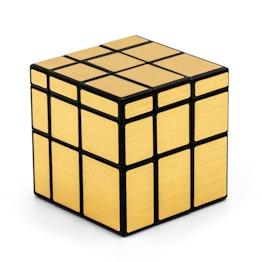 QiYi Mirror Cube Shape Mod, schwarz, mit goldfarbenen Stickern