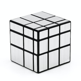 QiYi Mirror Cube shape mod, black, with silver-coloured stickers