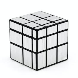QiYi Mirror Cube 3x3 Shape Mod, schwarz, mit silberfarbenen Stickern