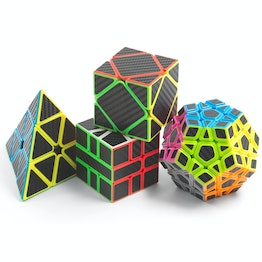 MoYu MFJS MeiLong Set Skewb, Pyraminx, SQ-1, Megaminx speed cubes, with carbon-look stickers, set of 4 different magic cubes