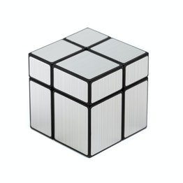 Shengshou Mirror Cube 2x2 shape mod, black, with silver-coloured stickers