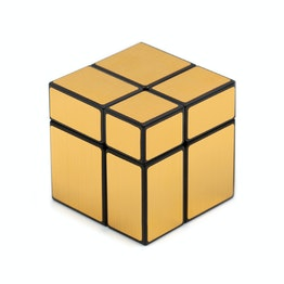 Shengshou Mirror Cube 2x2 shape mod, black, with gold-coloured stickers