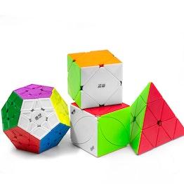 QiYi Luxurious Set Pyraminx, Ivy Leaf, Skewb, Megaminx Speedcubes, stickerless, Set mit 4 verschiedenen Zauberwürfeln