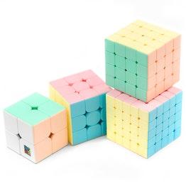 MoYu MFJS MeiLong Macaron Set 2x2, 3x3, 4x4, 5x5 speed cubes, stickerless, pastel colours, set of 4 different magic cubes